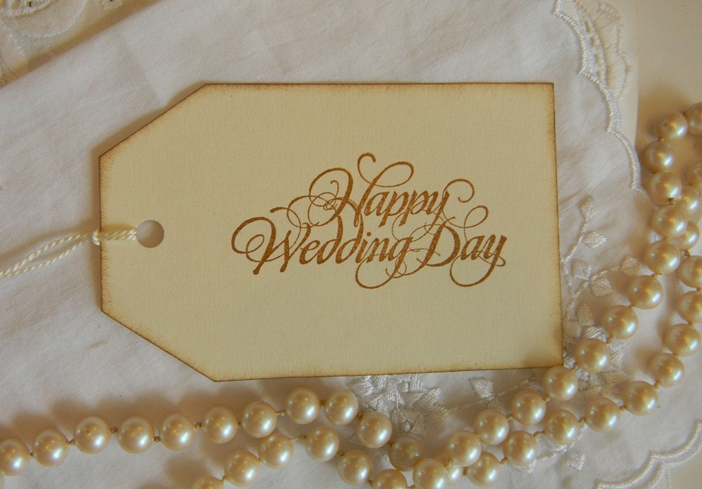 Etsy Wedding Gift For Bride : Vintage Gift Tags Happy Wedding Day
