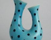 Reserved Listing: Turquoise Double Vase black polka-dot Modern Ceramic Scupture