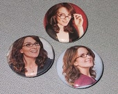 funny small gift Tina Fey Liz Lemon pinback buttons or magnets set of 3 by Rainbow Alternative on Etsy
