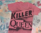 Freddie Mercury Killer Queen rock music tee t shirt stencil and spray painted by Rainbow Alternative on Etsy