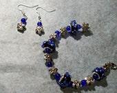Bracelet and Earrings - Floral Blue