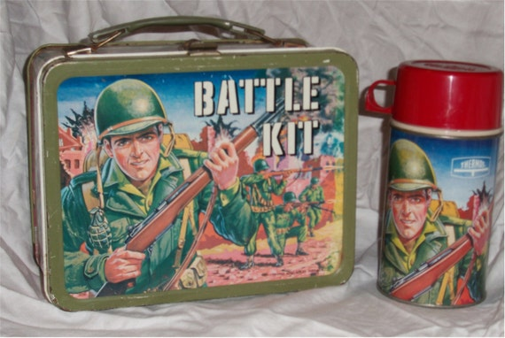RESERVED FOR CRIS  1964 Battle Kit metal lunchbox and thermos, very nice