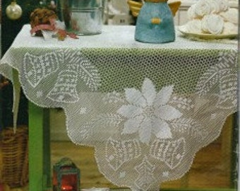 Crochet Tablecloth - Christmas free shipping