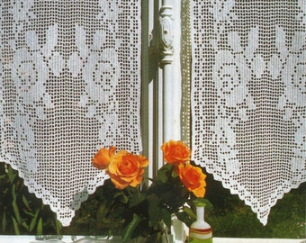 Crochet Lace Curtain/Valance - Twin Roses