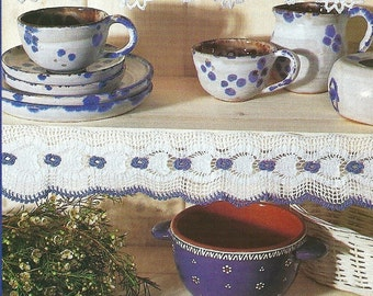 Crocheted Edging - Border -  Blue & White