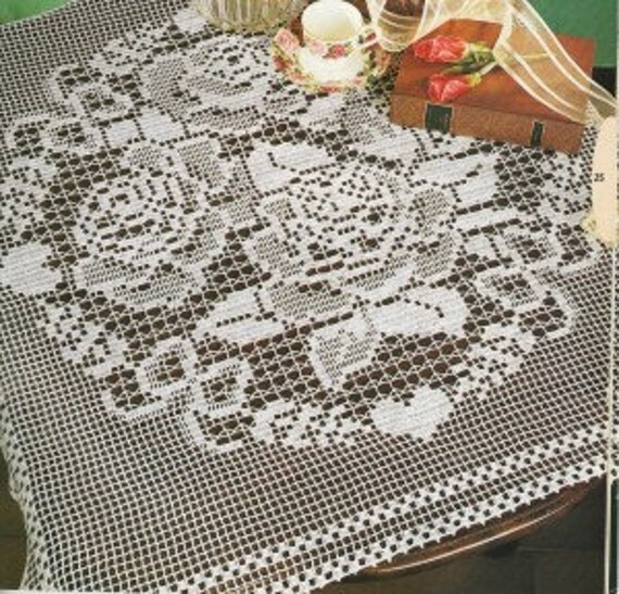 Crocheted Tablecloth - Roses free shipping