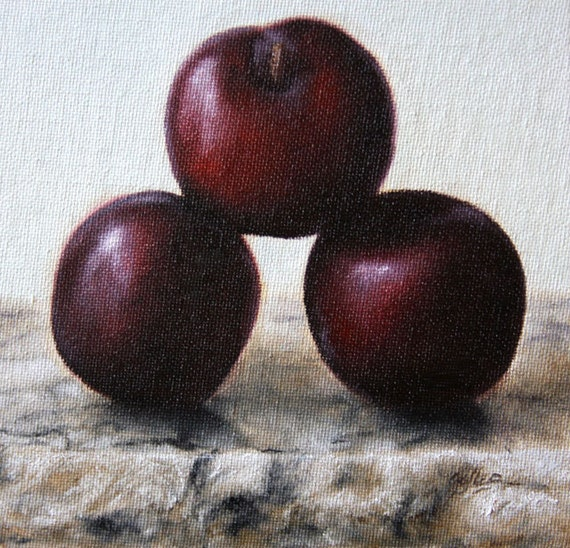 Circus Plums Fruit Oil Painting by Jonathan Aller