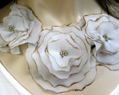 Silk Chiffon Flower Blossom Bib Necklace - Creme Brulee - Reserved