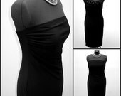 Upcycled Cocktail Evening Dress in Black by Norma Kamali - size 14-16