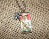 Handmade Vintage Baseball  Necklace Adorned with I love Baseball Charm