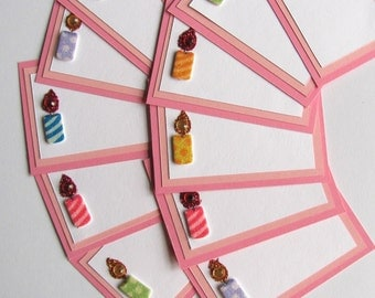 Birthday Candle Note Cards or Place Cards in Pink with White Envelope Set of 12