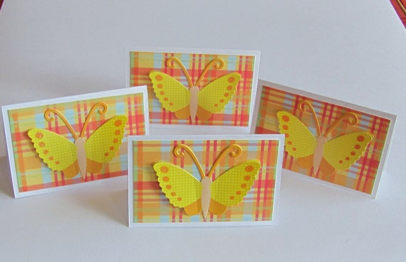 Butterfly Notecard or Place Card with White Envelope Set of 4 Yellow Butterfly on Plaid Background