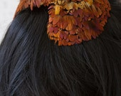 Autumn Feather Covered Curved Hat Cap