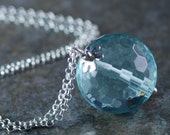 Aqua Czech Glass Necklace Sterling Silver Necklace Faceted Blue Green Glass Pendant Mother's Day Jewelry