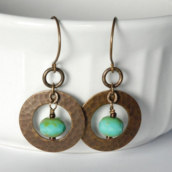 Brass Hammered Ring Earrings Turquoise Glass Beads Vintaj Natural Brass Jewelry Bohemian Style Earrings Fall Fashion Jewelry Under 20