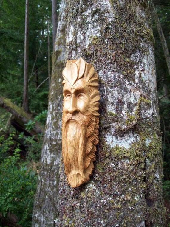 handmade hand carved wood spirit sculpture