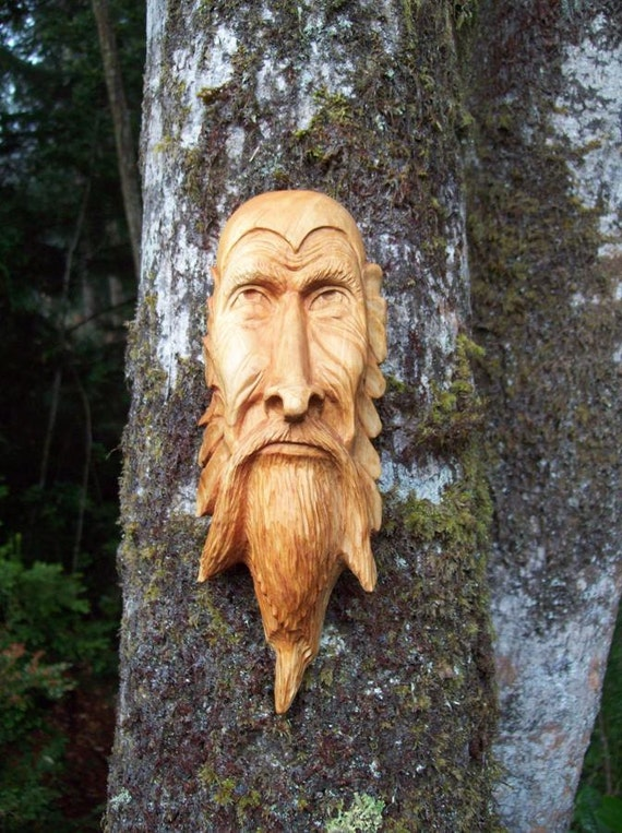 Wood tree spirit- green man- hand carved- present for Fathers Day- birthday gift-log cabin decor