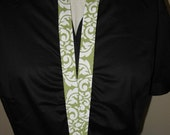 Lanyard ID Badge Holder or Camera Strap - Free Personalization - Avocado and White Damask Dandy - Michael Miller - Ready to Ship