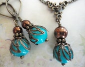 20% OFF SALE Turquoise and Antique Brass Necklace Set