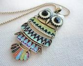 Colorful Owl Necklace -- Antique Brass, Enameled Pendant, Long Necklace