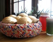 Braided Bread Bowl from upcycled corduroy
