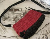 Ready To Ship Handmade Braided Purse/Shoulder Bag/Hand Bag in Burgundy/Black-Original design
