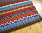 OOAK  Blue de France Braided Wool Rectangle Rug from new maharan wools