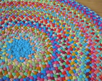 Made to order Handmade Braided Round Area Petunia Rug from recycled cottons