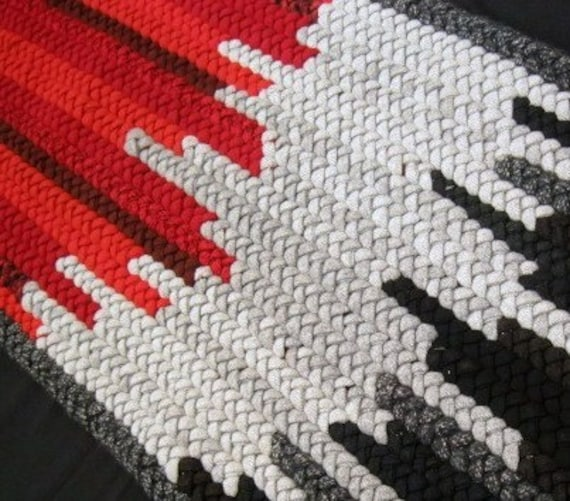 Ooak Red Black Gray Rectangle Braided Wool Rug From By
