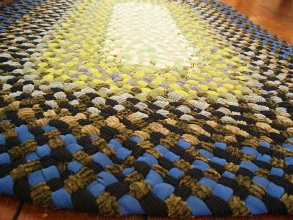 French Blue Oval Braided Rug from recycled fabrics