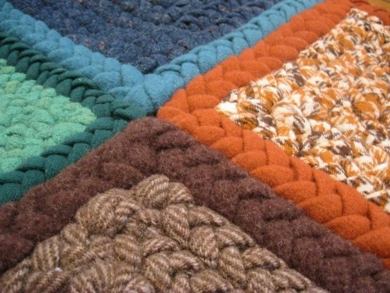 On Sale OOAK Orange, Blue Rectangle Wool Rug from recycled wool