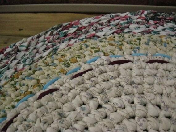 Handmade Honeysuckle Crochet rug from upcycled cotton
