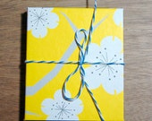 handmade accordion book yellow and blue blossoms