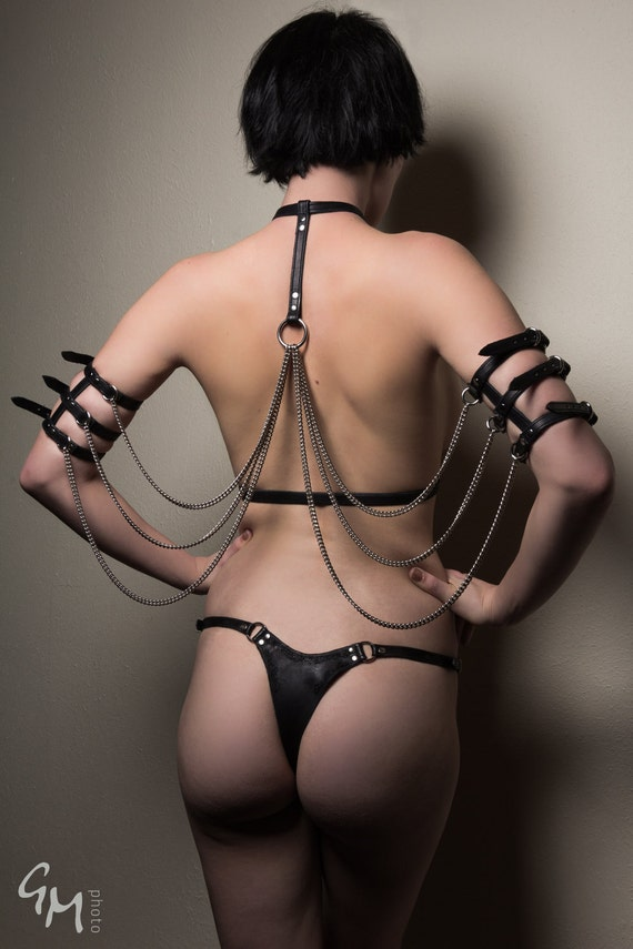 Leather Chain Wings Underbust Harness