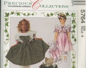 Girls Fancy Dress with Pantaloon and Bear Doll Sewing Pattern..Size 4...McCalls 5764 UNCUT