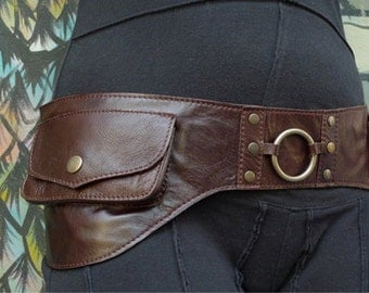 "Leather Utility Hip Belt _""WAVE.Brw""_ High Quality Handmade Designer Pocket Belt Bag 4 Gypsy/Nomad/Urban Lifestyle [Festival.Travel.Concert]"
