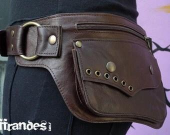 """Utility Leather HiP Belt BaG - """" LUNAR ECLIPSE """" - BROWN // leather belt with pockets."""