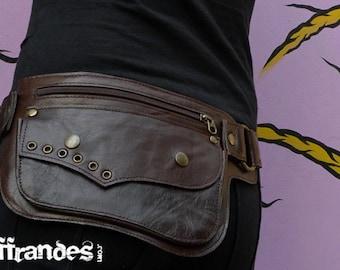 "Utility Leather HiP Belt BaG - "" LUNAR ECLIPSE "" - Dark BROWN -"