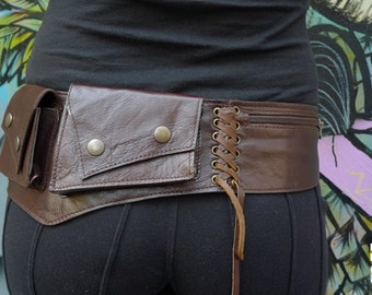Leather Utility Belt | Fanny Pack | Handmade Designer Pocket Belt | Hip Belt | Travel | Biker | Urban Gypsy | Burning Man | Festival Fashion