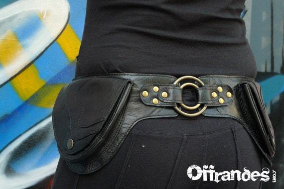 """Leather Utility Hip Belt _""""2RING.Bk""""_ High Quality Handmade Designer Pocket Belt 4 Gypsy/Nomad/Urban [Festival Bag.Travel.Hip Purse]"""