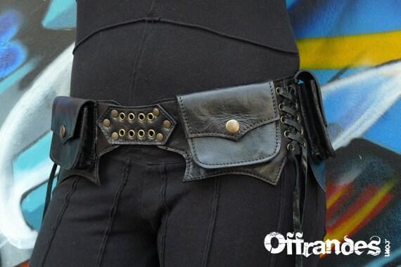 """Leather Utility Hip Belt """"LAWAH.Bk"""" High Quality Handmade Designer Pocket Belt Bag 4 Gypsy/Nomad/Urban Lifestyle [Festival.Travel.Concert]"""