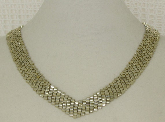 Silvered Glass Cubes V Shaped Necklace