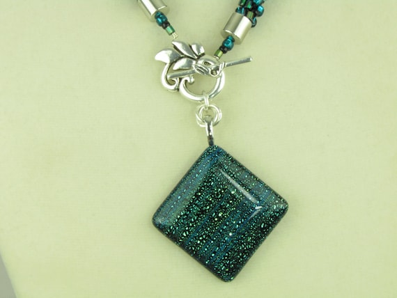 Green and Blue Beaded Kumihimo Necklace