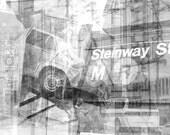 Steinway Street Astoria Queens NYC Collage Gallery Wrap Canvas Print