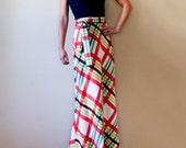 Vintage 1970s Plaid Maxi Skirt, Extra Small