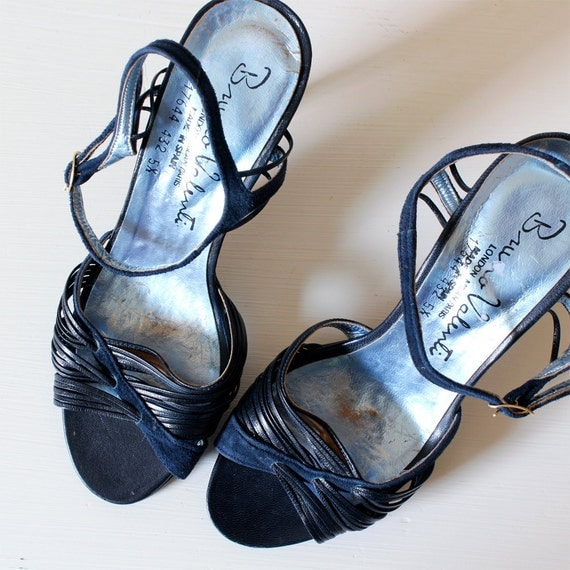Vintage Navy Blue Strappy Leather and Suede Sandal Heels, 5 1/2
