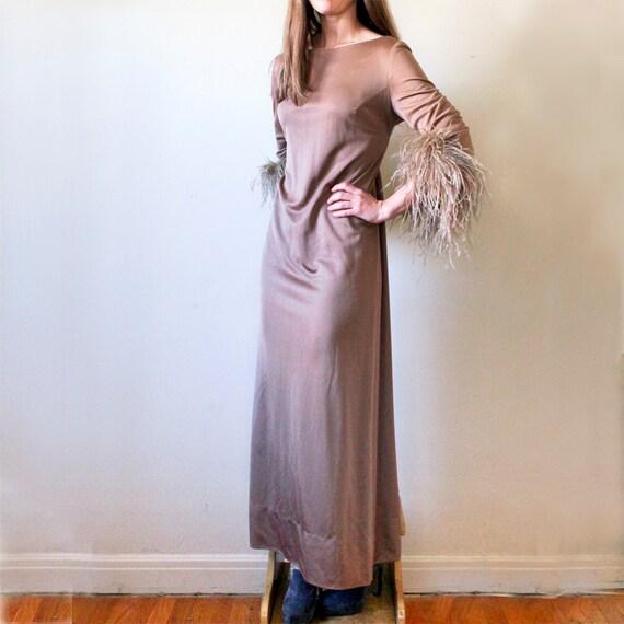 Vintage Ostrich Feather Slinky Dress, Medium