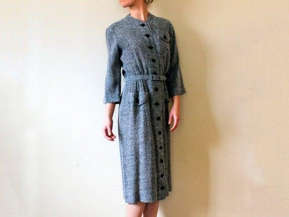 Vintage 1950s Grey Marled Wool Shirtdress, Small/Medium