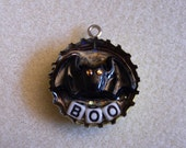 """SALE - Chain Included, Your Choice - Bat """"Boo"""" Pendant With Orange Rhinestone Eyes"""