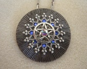 Pentacle Medallion Necklace With Swarovski Crystals